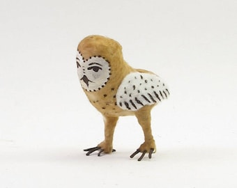 Vintage Inspired Spun Cotton Barn Owl Ornament/Figure (MADE TO ORDER)