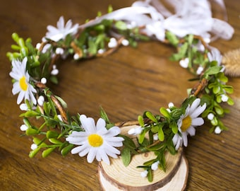 New Women Girls Woodland White Daisy Flower Crown, Boho Flower Hair Garland, Rustic Floral Hair Wreath Adult Children