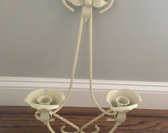 Retro wall sconce candlestick cream metal floral design