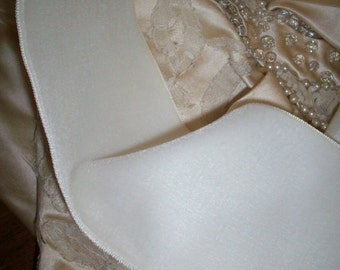 """Vintage Velvet Fine rayon Ribbon Trim Ivory Wide 3"""" or 3 3/4"""" Yardage available old store stock"""