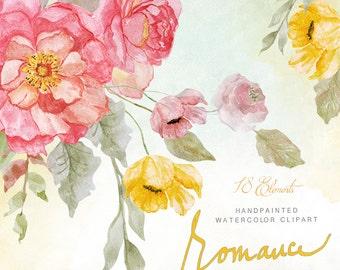 Romance WATERCOLOR Clipart - Shabby Flowers - digital flowers, DIY invites, Clip art, scrapbooking, wedding invitations, florals, tag