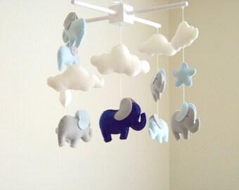 Elephant baby mobile, blue gray elephant mobile, baby mobile, star baby mobile, cloud baby mobile, blue nursery decor, gray nursery decor