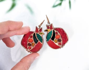 stained glass pomegranate earrings    original design    birthday gift    jewelry
