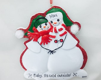 Snow Couple Personalized Christmas Ornament / Our First Christmas / Engagement Ornament / Couple Ornament
