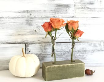 Small Test Tube Vase. Bud vase. Flower vase. Green stained wood, test tube vase.
