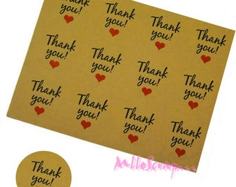 "36 stickers ""Thank You"" kraft scrapbooking tags"