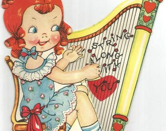 1930s Valentine Card Little Girl with Harp Pop Out Valentine Card Vintage Valentine's Day Card Valentine Ephemera Vintage Greeting Card