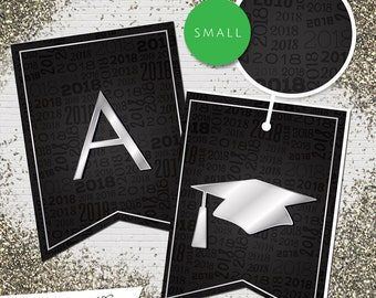 Small Black & Silver 2018 Printable Banner     All Letters 0-9 numbers     Graduation, Birthday, Congratulations, Anniversary