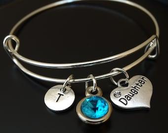 Daughter Bangle Bracelet, Adjustable Expandable Bangle Bracelet, Daughter Charm, Daughter Pendant, Daughter Jewelry, Daughter Gift, Daughter