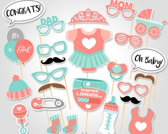 Baby Shower Photo Props  - Peach and Teal Baby Photo Booth Props - Printable Baby Shower Photobooth Props - Coral and Teal Baby Shower