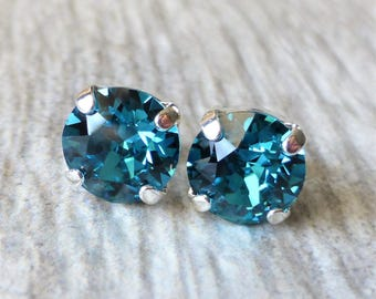 Indicolite Blue Swarovski Stud Earrings, Crystal Rhinestone Stud Earrings, Post Earrings, Silver Round Crystal Studs, Bridesmaid Gifts, Gift