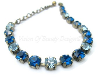Capri Blue and Sapphire Bracelet Brass Ox  - Spring Collection - by Vision of Beauty Design Brass Ox 7-8.5 ready to ship
