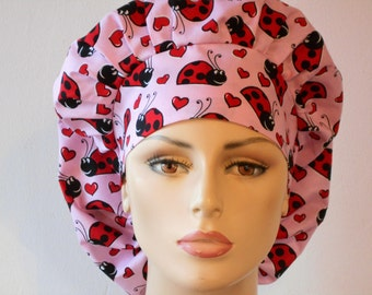 Scrub Hats Happy Ladybugs on Pink Medical Bouffant Scrub Hat - Happy Ladybugs All Over with a Matching Headband