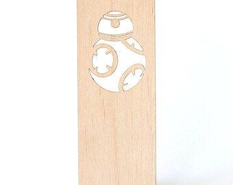 Wood Bookmark - BB8 Wooden bookmark - laser wood Star Wars Bookmark