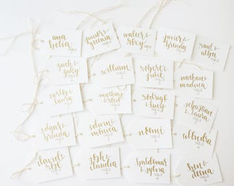 calligraphy gift tags and wedding favor tags // handwritten favor labels // hang tags for presents or wedding party favors