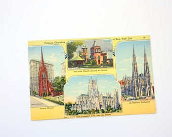 Vintage New York City  Churches Postcard, Linen Postcard, Cathedral postcard, Church postcard, Multi View Postcard