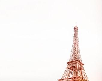 eiffel tower print, paris photography, travel photography, france, paris home decor, pink, gold / iron lady / 8x8 fine art photo