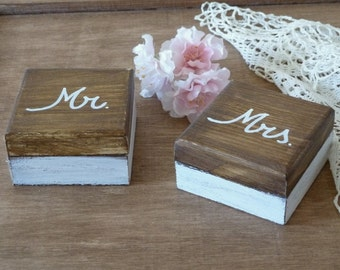 Wedding Ring Bearer Mr and Mrs Set Ring Boxes Wedding Ring Pillow Alternative His Hers Ring Boxes Wooden Burlap
