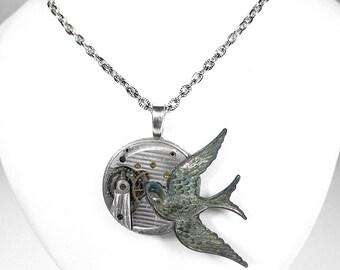Steampunk Jewelry, Steampunk Necklace PINSTRIPE Pocket Watch VERDIGRIS Bird Men Women Steam Punk Pendant Anniversary - by Steampunk Boutique