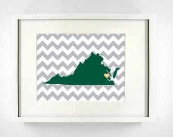 Williamsburg, Virginia State Giclée Map Art Print  - 8x10 - Graduation Gift Idea - Dorm Decor