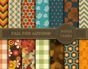 Fall digital paper, Autumn digital paper, Autumn leaves digital paper, Fall themed patterns, fall scrapbook paper, fall flowers, gingham