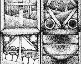 Pen and ink drawing Landscape illustration print Window illustration art print Drawing print