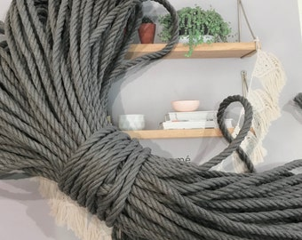 Macrame Rope Cotton 4ply 4mm 25 metres.  Australian grown and processed. Charcoal