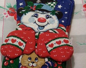 holiday snowman oven mitt