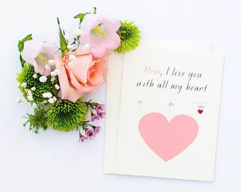 Mother's Day I Love You With All My Heart Card - Mother's Day Card, I Love You Mom, Card for Mom, Happy Mother's Day Card