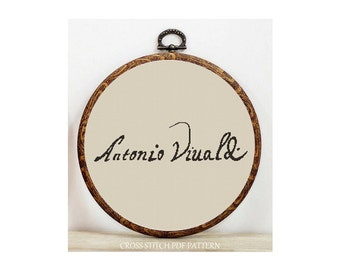 Signature-Vivaldi-Cross Stitch Pattern-Modern Sampler-Pdf-Instant Download