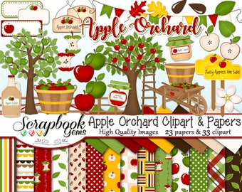 APPLE ORCHARD Clipart and Papers Kit, 33 png Clip Arts, 23 jpeg Papers Instant Download fruit tree cider apple juice farm market autumn fall
