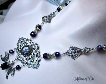 Amethyst Triple Moon Necklace, Goddess Necklace, Victorian, Filigree Crescents, One of a Kind
