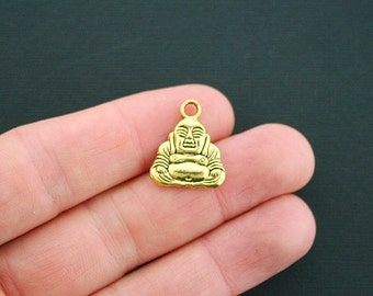 5 Buddha Charms Antique Gold Tone 2 Sided - GC035