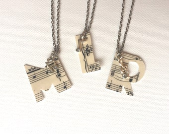 Piano Teacher Gift, Musical Monogram Necklace, Musician Gift, Gift for Singers, Music Themed Wedding, Music Jewelry, Bridesmaid Jewelry