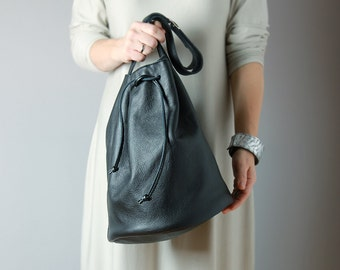 Drawstring leather bucket bag in black - leather bucket tote, black leather bag