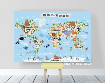 Printable world map etsy kids world map nursery animal world map for kids printable world map poster kids wall map gumiabroncs Gallery