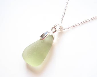 Seaham Sea Glass Pale Olive Green drop Pendant suspended from a sterling silver bail - E1763 - from Seaham, UK