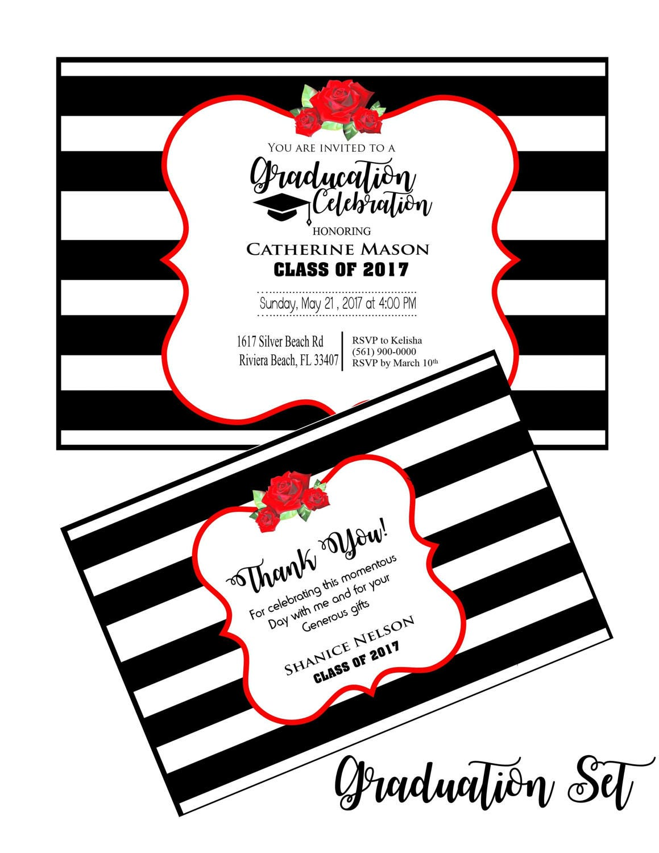 Graduation Party Invitation, Graduation Thank You Cards, College ...