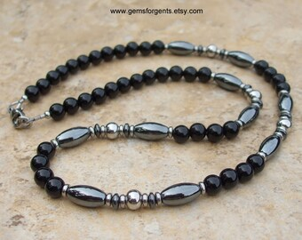 Gray Hematite and Black Onyx, Mens Beaded Necklace, Mens Jewelry – N56
