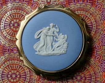 Vintage Stratton 'Princess' Wedgwood Blue Jasperware Three Graces Powder Compact 1970's