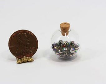 Miniature Round Glass Bottle Filled with Baubbles