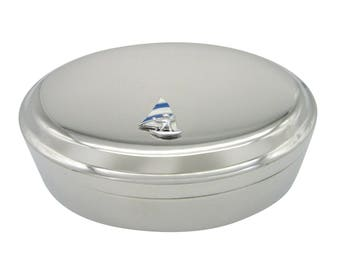 Blue and White Toned Wind Surfer Pendant Oval Trinket Jewelry Box