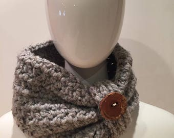Crochet Chunky Cowl in Gray with Wooden Button