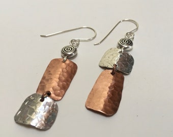 Mixed metal earrings/hand forged and textured earrings