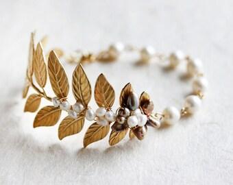 Leaf Bracelet Cuff Brass Woodland Leaves Branch Natural Bridal Elegant Vintage Style