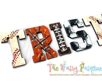 Vintage Sports Painted Letters - Vintage Baseball Nursery Letters - Basketball Soccer Decor - Sports Nursery Decor - Painted Wood Letters