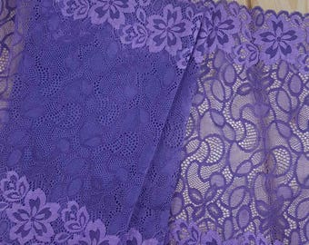 Purple 29 cm wide Stretch lace sold by the meter