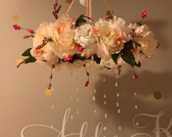 Cream and Pink Flower Mobile