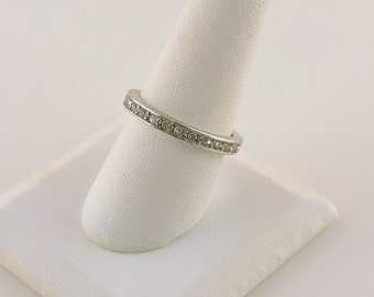 Size 9 Silver Tone Rhinestone Eternity Band Ring