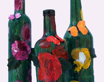 Set of 3 hand-painted/decorated liquor bottles, acrylic skin flowers and butterflies, centerpiece, gift for Mom, gift for her, Free shipping
